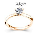 Золотое кольцо красного цвета с бриллиантом Теплое чувство, 3,8мм