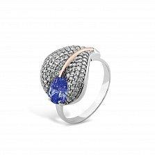 Серебряное кольцо Лилия с золотой накладкой, синим алпанитом и фианитами