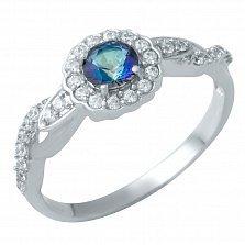Серебряное кольцо Хиллари с топазом мистик и фианитами