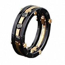 Золотое обручальное кольцо Нерушимый союз с бриллиантами