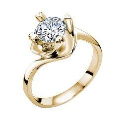 Помолвочное кольцо Любовный вихрь в желтом золоте с бриллиантом 0,3ct в крапанах-сердцах