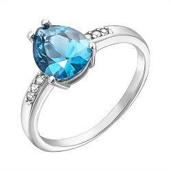 Серебряное кольцо Илона с голубым кварцем и фианитами