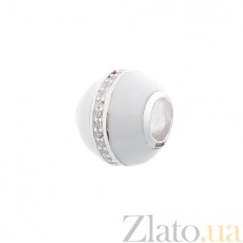 Серебряный шарм Грета с фианитами и белой эмалью 000080252