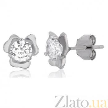 Серебряные сережки с цирконием Нежные лепестки SLX--С2Ф/480А