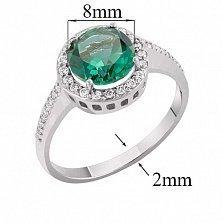 Кольцо в белом золоте Келли с зеленым синтезированным кварцем и фианитами