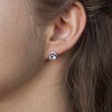 Серебряные серьги-пуссеты с позолотой Радость с фианитами