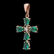 Золотой крестик Луиза с изумрудами и бриллиантами