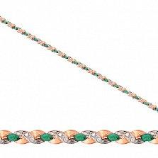 Золотой браслет Колосок с зелеными и белыми фианитами