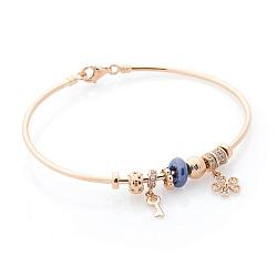 Золотой браслет Фарида с фианитами и синим полимером