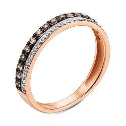 Золотое кольцо в комбинированном цвете с коньячными и белыми бриллиантами 000121437