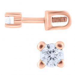 Золотые серьги-пуссеты Дана с бриллиантами 000066109