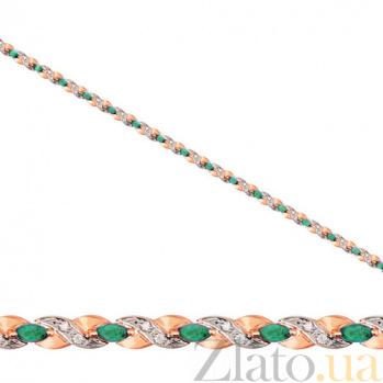 Золотой браслет Колосок с зелеными и белыми фианитами VLT--526-1