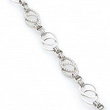 Серебряный браслет Графиня с фианитами в стиле Шанель