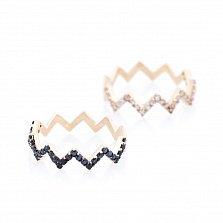 Золотое двойное кольцо на фалангу Зигзаги с черными и белыми фианитами