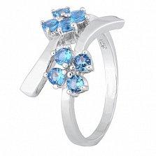 Серебряное кольцо с голубыми фианитами Пора цветения
