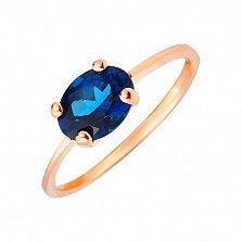 Кольцо из красного золота Мальвина с темно-синим топазом лондон