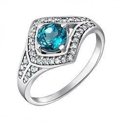 Серебряное кольцо с лондон топазом и фианитами 000079699