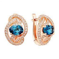 Серьги из красного золота с темно-голубыми топазами и фианитами 000138694