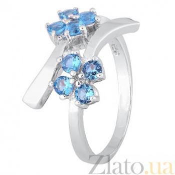 Серебряное кольцо с голубыми фианитами Пора цветения 000028140