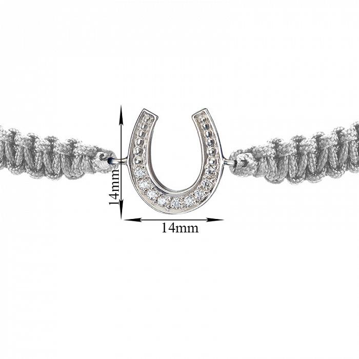 Серый плетеный браслет Удача с cеребряной вставкой-подковой и фианитами, 14х14мм 000080660
