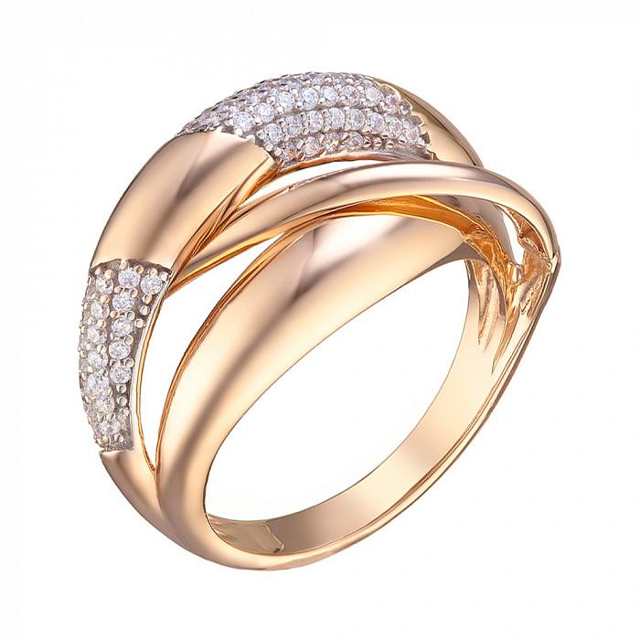 Кольцо из красного золота Джинджер с фианитами 000078487