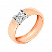 Золотое обручальное кольцо Пламя любви в комбинированном цвете с бриллиантами