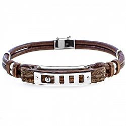 Кожаный браслет Настойчивость с эбеновым деревом и бриллиантом