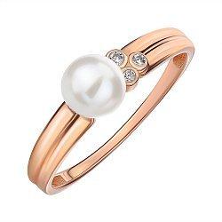 Кольцо из красного золота с жемчугом и цирконием 000145543