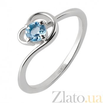 Кольцо из белого золота Песня реки с голубым топазом и цирконием TRF--1221539н