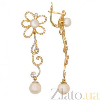 Золотые серьги с жемчугом и фианитами Дениза VLT--ТТ2390