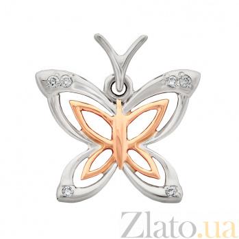Золотая подвеска Бабочка с бриллиантами VLA--34100