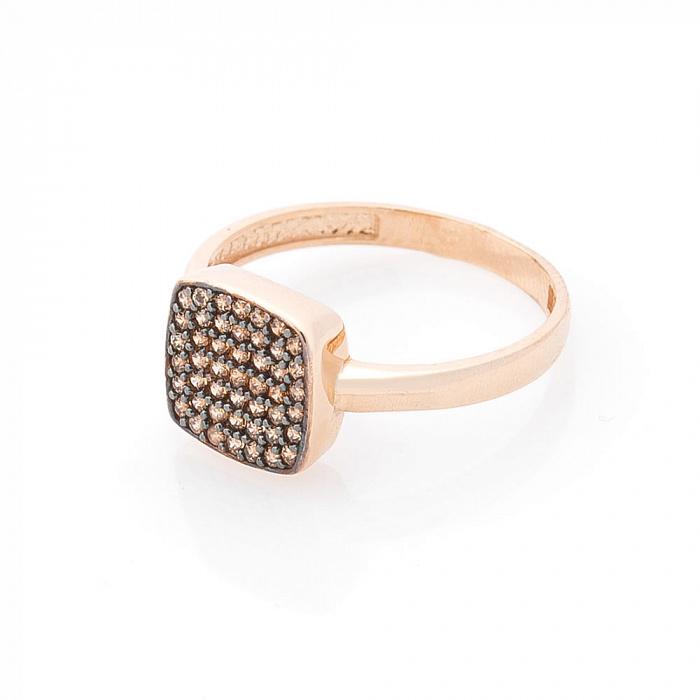 Кольцо Фаустина в красном золоте с коньячными фианитами 000082409