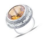 Серебряное кольцо с желтым кварцем Солнце