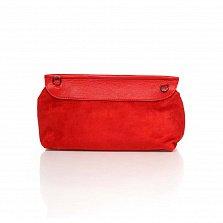 Кожаный клатч Genuine Leather 1385 кораллово-красного цвета с принтом рептилии и плечевым ремнем