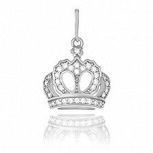 Серебряный родированный подвес Корона принцессы с цирконием