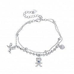Серебряный многослойный браслет Мальчик, ангел и сердечко с синим и белыми фианитами