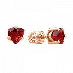 Серьги-пуссеты из красного золота с гранатами 000104234