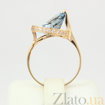 Золотое кольцо с топазом и фианитами Илэрия VLN--112-1297-1