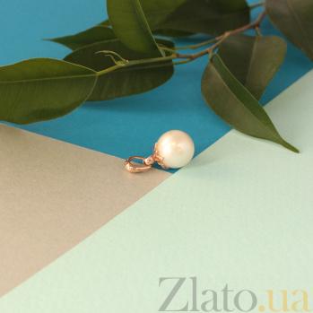 Золотой подвес Ажурное счастье с белой жемчужиной 000071626