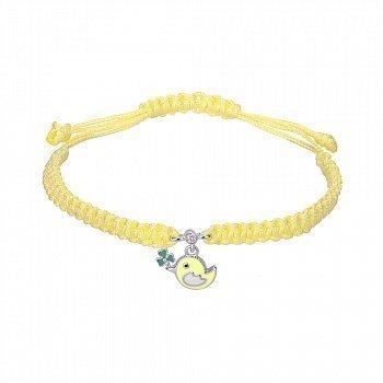 Браслет из серебра и желтого нейлонового шнурка с эмалью 000145118