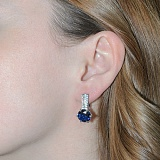 Серебряные серьги с синим цирконием Снежана