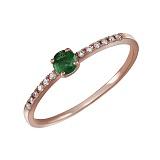 Кольцо из красного золота с бриллиантами и изумрудом Диаманда
