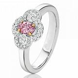 Кольцо Argile из белого золота с бриллиантами и розовым сапфиром