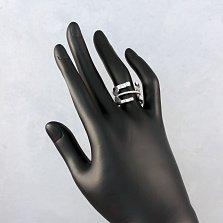 Серебряное кольцо Воздушное с фантазийной шинкой, бабочками и дорожкой фианитов