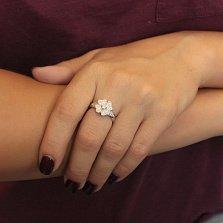Серебряное кольцо Flowers с цирконием