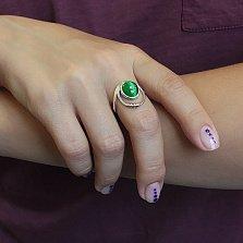 Серебряное кольцо Намек с зеленым улекситом (кошачьим глазом) и золотой вставкой