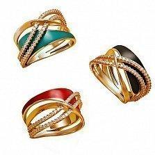 Кольцо в красном золоте Марта с красной, черной либо зеленой эмалью и фианитами в ассортименте