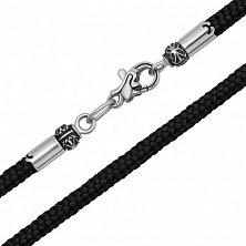 Шелковый шнурок с замком из белого золота Имидж