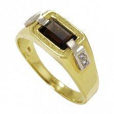 Золотое кольцо Карлотта с раухтопазом и фианитами