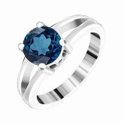 Серебряное кольцо с фианитом цвета лондон топаза 000028338